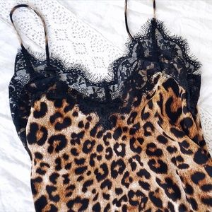 NEW! Eyelash Lace Silky Leopard Cami Top